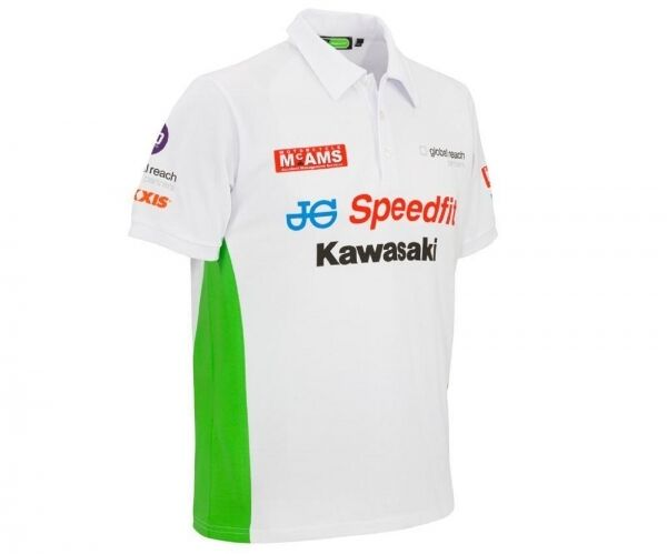 Kawasaki Bsb Polo Shirt Men White Green Short-Sleeved British Superbike New