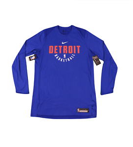New-Nike-NBA-Authentics-Detroit-Pistons-Team-Issued-Long-Sleeve-Shirt-Blue
