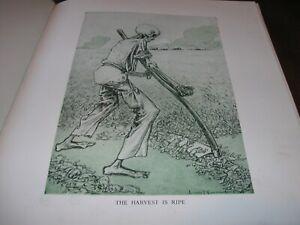 1916-Original-POLITICAL-CARTOON-WWI-DEATH-SKELETON-w-SICKLE-Harvest-Soldiers