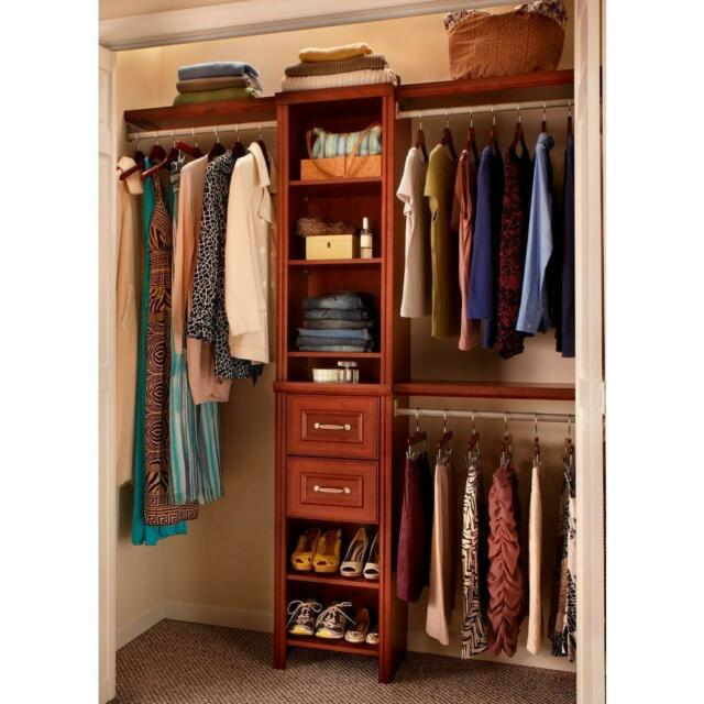 Deluxe Wood Closet Organizer Kit Shelving System With 8 Shelves 16 Inch W Cherry