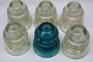 Set-of-6-Hemingray-42-MADE-IN-USA-Vintage-Insulators-Some-Chipping-Free-Shipping