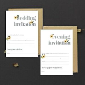 WEDDING-INVITATIONS-BLANK-GREY-WATEROLOUR-amp-LEMON-YELLOW-FLORAL-PACKS-OF-10