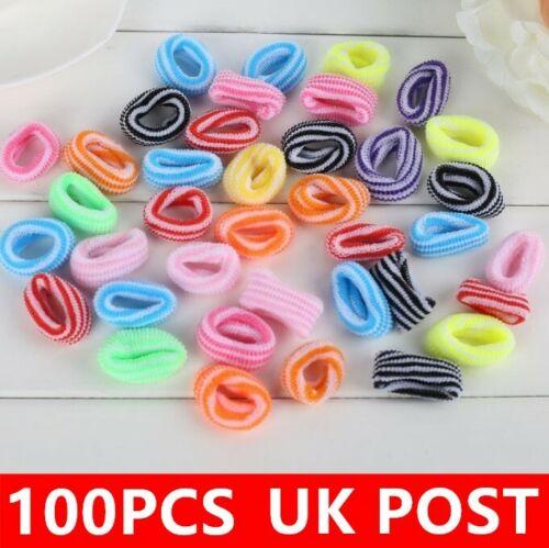 100 Mini Bright Hair Ponios No Snag No Metal Hair Bobbles Soft Hair Accessory