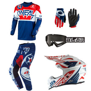 ONeal Mens Element Warhawk Motocross Jersey /& Pants Combo Blue//Red