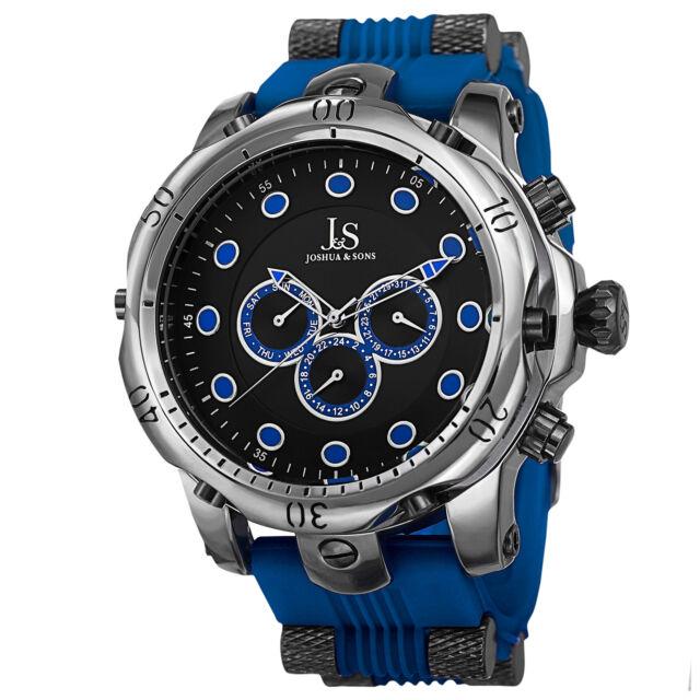 3fa8cdb5fa2 Joshua   Sons Mens JS71BU Silver Multifunction Swiss Quartz Watch With  Black and
