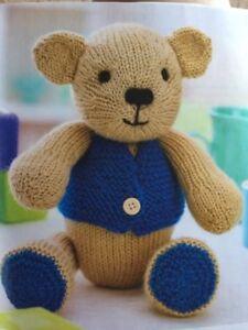 """Baby Toy Spotty Teddy Bear /& Spotty Blanket 33cm//13/"""" DK Knitting Pattern"""