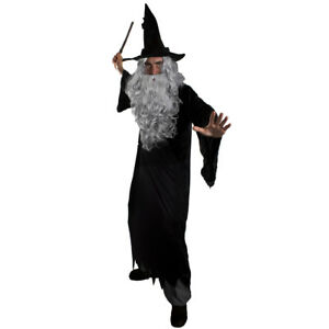 WIZARD-COSTUME-MENS-HALLOWEEN-FANCY-DRESS-ROBE-HAT-GREY-WIG-BEARD-WAND-TV-FILM