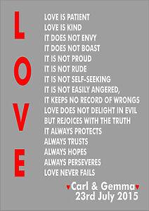 1 Corinthians 13 Wedding Reading.Details About Love Is Patient Love Is 1 Corinthians 13 Wedding Reading Personalised Custom Art