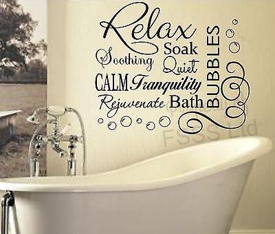 """Relax Bathroom Bubble Bath Sticker washroom vinyl Wall Decal Sticker 7/"""" x 16/"""""""