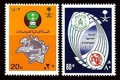 Warnen Saudi Arabia 1983 ** Mi.775/76 World Communications Year Upu Itu Uit Postal Ein Unbestimmt Neues Erscheinungsbild GewäHrleisten Briefmarken