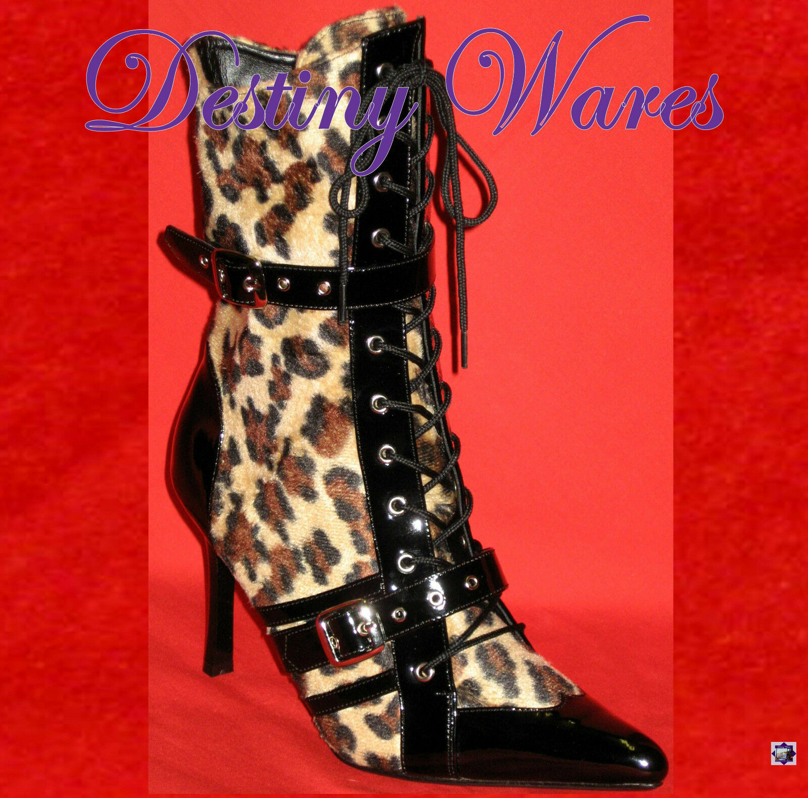 Daring 1022 - FAUX CHEETAH FUR & BLACK ANIMAL PRINT MID CALF BOOTS 3.75  Heel