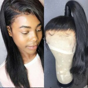verkauf uk Kauf authentisch beste Seite Details zu Top Remy Peruan Echthaar Perücke Full Front Lace Mit Babyhaar  Wig Human Hair 1B