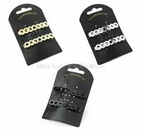 Black Silver Gold Seven Circle Hair Spring Clips Grips Pins Slides Barrette