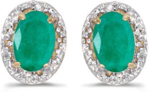 14k Gelbgold Oval Smaragd Und Diamant Ohrringe (cm-e2615x-05)