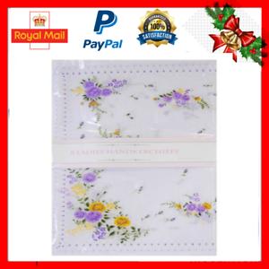 Femmes Motif Floral Poly Coton Valeur Pack de 8 Mouchoirs Mouchoirs En Cadeau de Noël