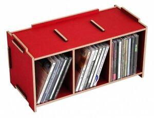 SCATOLA-ACCESSORI-MEDIA-CD-Rosso-rosso-scuro-DERIVATO-legno-Werkhaus