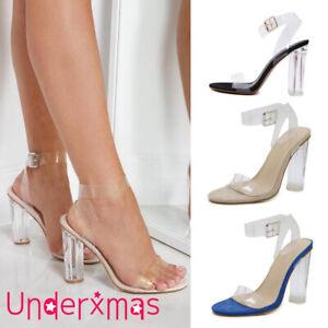UK Womens Transparent Block High Heels