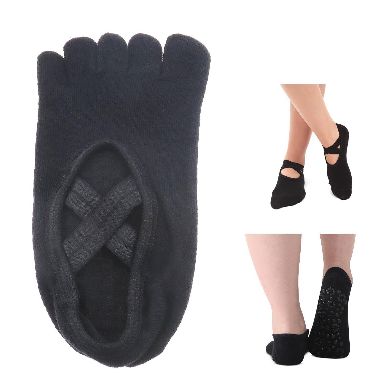 für Pilates Outdoor 2 Paar Anti-Rutsch Yoga 5 Zehen Socken Set Grau+Schwarz