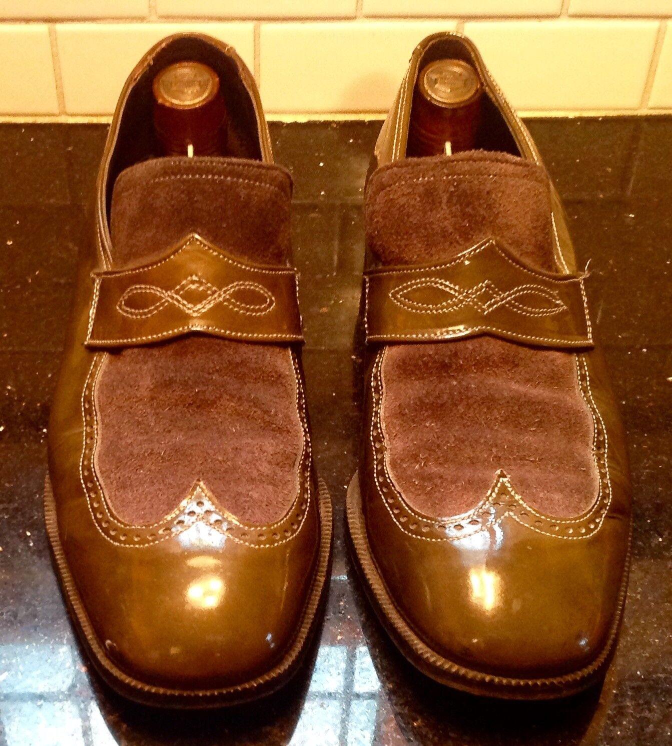 solo per te Vintage Uomo verde Suede and Patent Leather Wingtip scarpe scarpe scarpe  sz 8.5 D  all'ingrosso a buon mercato