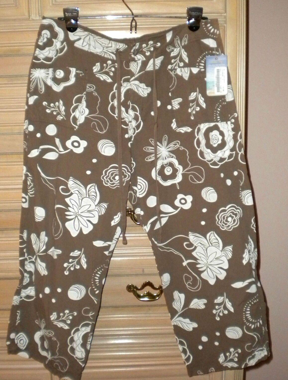 NWT FRESH PRODUCE Sheeting Capri   Chopped Pants Pacific Cocoa Brown M