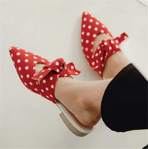 Womens-Polka-Dot-Pointed-Toe-Mules-Shoes-Flats-Oxfords-Slides-Bow-Sandals-SZ-P15