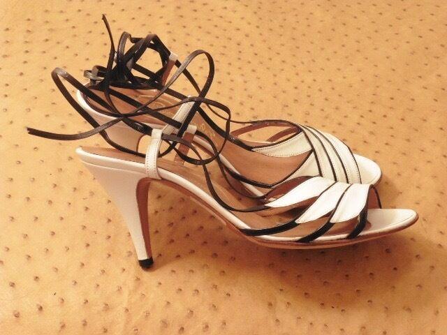 Vacker sandal, vit, svart, ung, ung, rom Paris, vintage 70 -ny t.41