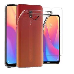 For-Xiaomi-Redmi-8A-Case-Clear-Slim-Gel-Cover-amp-Glass-Screen-Protector
