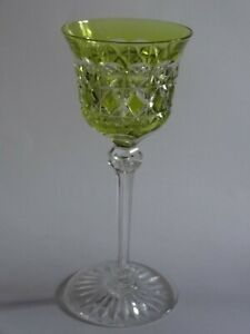 1 Ancien Verre A Vin Roemer Cristal Val St Lambert Modele Carlton Jaune Ht 19 Cm