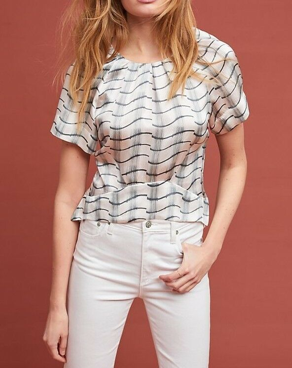 Anthropologie Silk Waves Blouse by Cardinal  Sz 4 - NWT