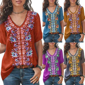 Womens Loose Floral Print Tops Shirt Ladies Short Sleeve Baggy Casual Blouse Tee
