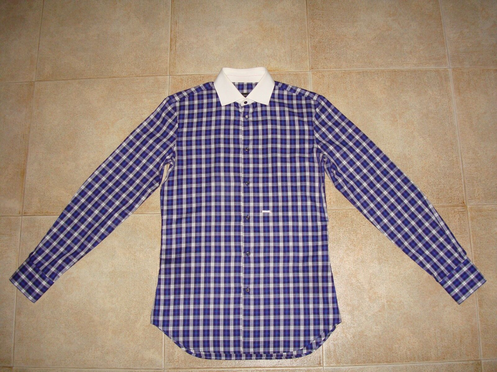 Dsquarot² Runway METAL LOGO Checked hemd 50 IT FW 09-10 71DL254  Made in IT
