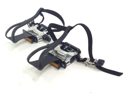 """Alloy Bicycle Pedals Road//City Bike 9//16/"""" With Toe Clips /& Straps"""