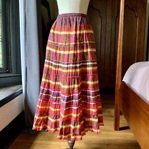 MULTIPLES Long Boho MAXI Colorful Skirt India COTTON P/M