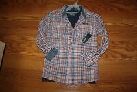 NWT Boys KENNETH COLE Red Navy Blue Checkered Button Up L/S Shirt M 6/7