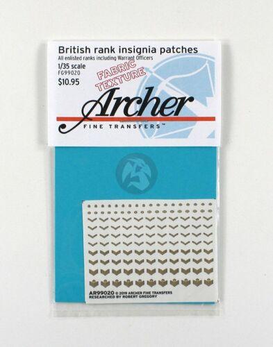 100 pc AR99020 Archer 1//35 British Rank Insignia Uniform Patches WWII Fabric