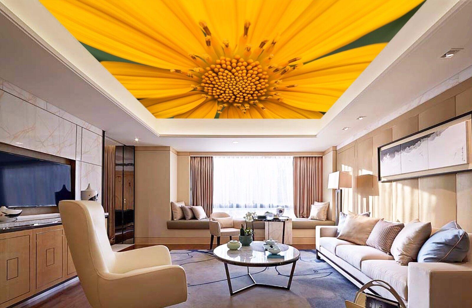 3D Yellow Petal 9 Ceiling WallPaper Murals Wall Print Decal Deco AJ WALLPAPER GB