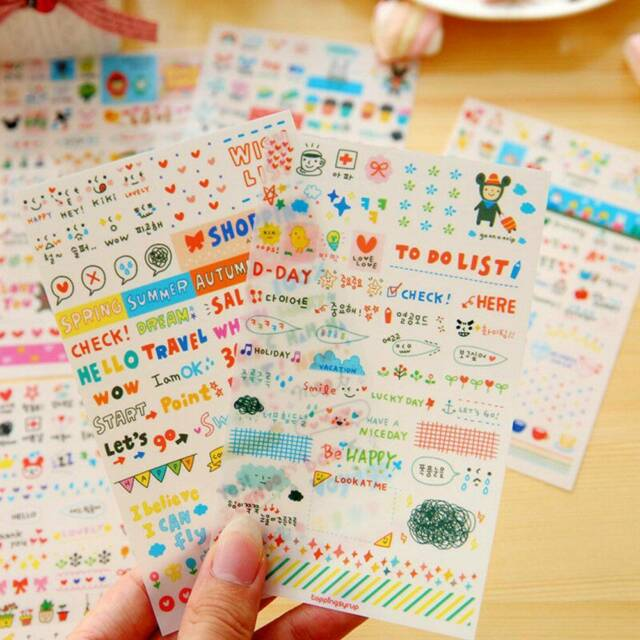 6 Sheet/Pack Drawing Planner Paper Diary Stickers PVC Scrapbooking Gifts
