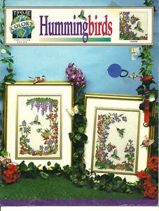 Hummingbirds-Counted-Cross-Stitch-Pattern-Leaflet-flowers-animals-bird-2-designs