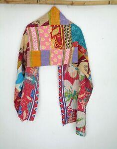 Vintage-Kantha-Scarf-Cotton-Sari-Stole-Women-Shawl-Hand-Stitch-Embroidered-SL47