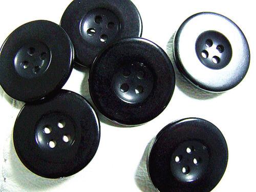 30 Large Plastique Noir Dimple Boutons 28 mm rond 4 Trous Manteau Veste Multi-Purpose