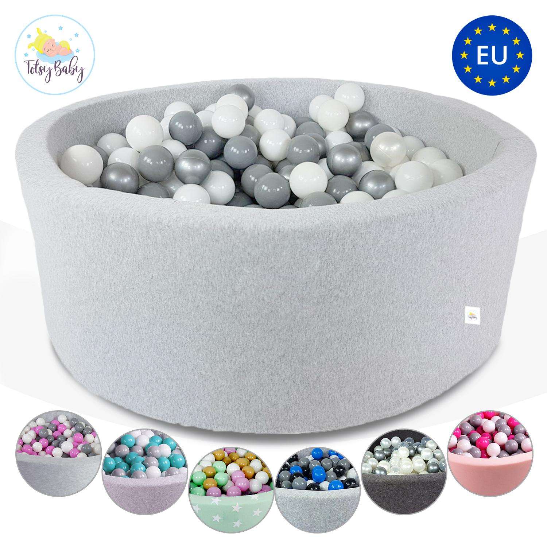 TotsyBaby® Ballpool Bällebad Kugelbad für Baby 200 Bälle 7cm CE EU 90x30 Grau