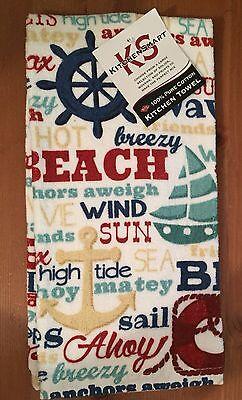 Ritz Nautical Words kitchen dish towels Set of 2 Beach Seashore