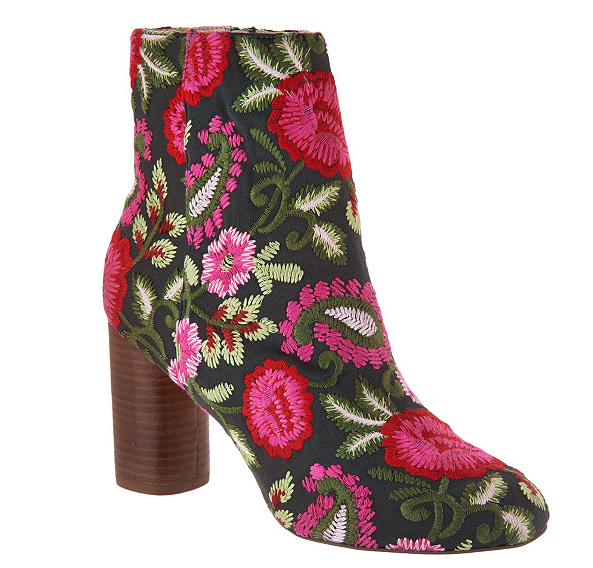 Sole Society Novelty Printed Heeled Ankle Boots Mulholland Pink Floral Women 6.5