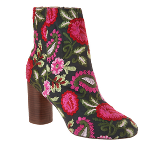 Sole Society Novelty Printed Heeled Ankle Boots Mulholland Pink Floral Women 5.5