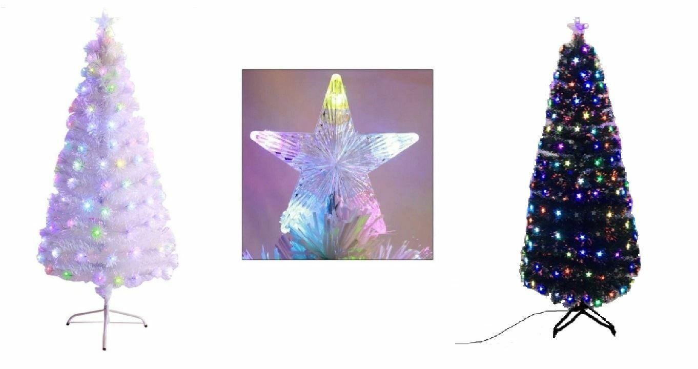 H&S Fibre Optic LED Xmas Tree Multicolour with Star Pre Lit