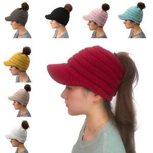 47028ce20e247 Warm Women s Woolen Baseball Cap Messy Bun Ponytail Beanie Winter ...