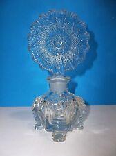 Vintage Art Deco Glass PERFUME BOTTLE Flower Stopper