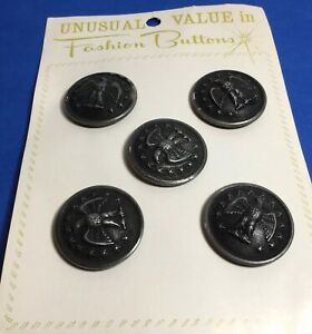 five vintage buttons