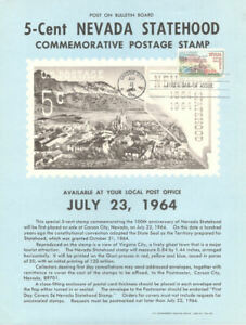 1248-5c-Nevada-Statehood-Stamp-Poster-Unofficial-Souvenir-Page-Flat-HC