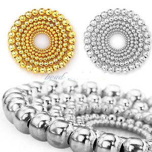 New-Fashion-Silver-Gold-Plated-Round-Spacer-Smooth-Loose-Beads-Charms-Findings
